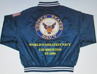 USS BREWTON  FF-1086  NAVY ANCHOR EMBROIDERED 2-SIDED SATIN JACKET