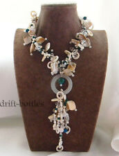 17'' White Freshwater Pearl Malachite Shell Agate Crysta Necklace Pendant