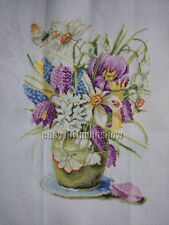 HAND MADE New Finished Completed Cross Stitch - Flowers and flower pots - F32