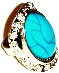 CRACKED BLUE PEARL Metal Alloy Engraved Ring Silver Color Rock Gothic