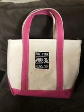 LL BEAN Boat and Tote Mini Small Pink Heavy Canvas Bag Maine USA 9 x 13