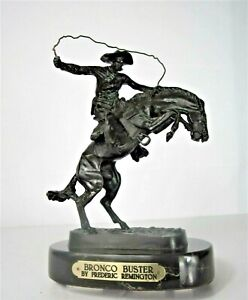 Bronco Buster Frederic Remington Hand Cast Bronze Beveled Marble Base