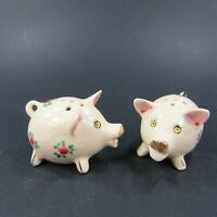Vintage Salt Pepper Shakers Set Mini Painted Floral Pigs Pink Roses Japan   *378