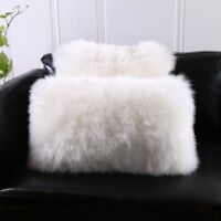 Single-Sided White Australia Sheepskin Pillow Sofa Cushion Cover Fur pillowcase