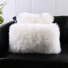 Single-Sided White Australia Sheepskin Pillow Sofa Cushion Cover Fur pillowcase