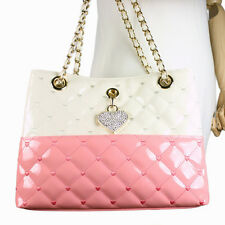 LOVE PINK Heart Cubic Pendant Pink Quilted Faux Patent Leather Shoulder Bag NWT