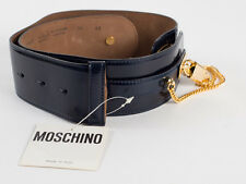 New Moschino Redwall Navy Patent leather Belt Size 42