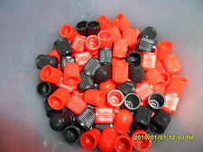 12 Black & Red Plastic Valve Caps Car,Bike,ATV, plus Get 1 Packet FREE
