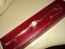 WOMAN'S VINTAGE 1950s VENUS WATCH BRACELET 10mm YELLOW GOLD 18k  DIAMONDS 24gr