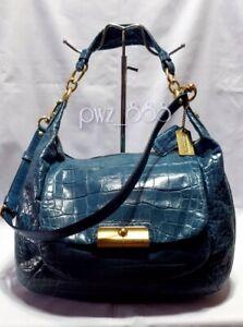 COACH Kristin Croco Expandable 2 Way Leather Shoulder Bag