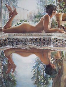 "Steve Hanks, ""Reflecting"", digital print, 28.25""hx20.5""w Image, almost sold out"