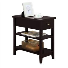 Accent 3-Tier End Table w/Storage Shelves & Drawer For Living Room