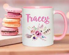 Personalised Name Floral Coffee Cup Mug Wife Mum Female Birthday Present Gift