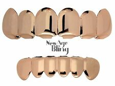 Grillz Set 14k Rose Gold Plated Top & Bottom 6 Tooth Hip Hop Teeth Grills