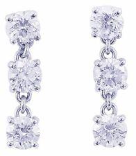 14K WHITE GOLD ROUND CUT DIAMOND DANGLING EARRINGS PRONG SET DANGLING 1.80CTW