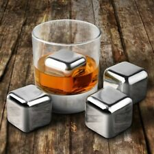 8pcs 304 Stainless Steel Whiskey Wine Stones Reuseble Cooler Ice Cubes Ball T6Y7