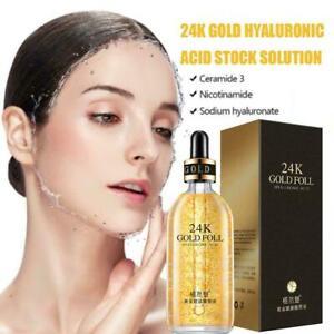 100ml 24K Gold Moisture Essence Hyaluronic Acid Serum Skin Care Z1I7