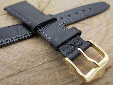 Hirsch Duke Black Croco Grain 20mm Mens Vintage Watch Band Water Resistant NOS