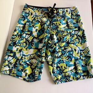 Pacifica board shorts size 82 cm waistline green blue aloha wave