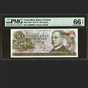 Banco Central de Costa Rica 50 Colones 1974 PMG 66 GEM UNCIRCULATED EPQ P-239