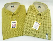 Haggar (2 Pack) Forever New Mens Long Sleeve Button Front XXL 2XL Yellow Plaid