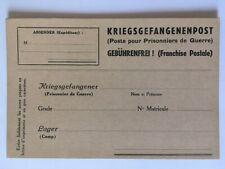 CARTE POSTE POUR PRISONNIERS DE GUERRE VIERGE KRIEGSGEFANGENENPOST GEBUHRENFREI