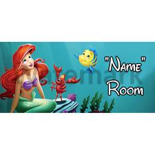Disney Little Mermaid Personalised Bedroom Door Sign - Any Text (1)
