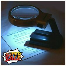 Magnifying Lamp Magnifier Glass with Led Light and Stand 3X Folding Lighted NEW
