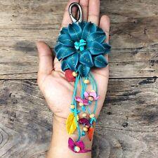 New Ocean Genuine Leather Keychain KeyRing Handmade Flower Charm Purse Floral