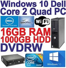 Windows 10 dell core 2 QUAD PC Computer - 16GB RAM-HDD 1000GB - 300 Mbps WI-FI