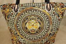 Genuine Embroidered Vintage Tribal BOHO tote bag, shoulder bag, handbag GOLD