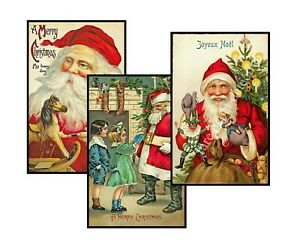 """Christmas Postcard Sticker REPRODUCTIONS, Set of 3, Card Making, 3.5 x 5.5"""" Each"""