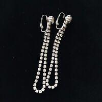 Vintage Estate White Rhinestone Long Dangle Statement Clip On Earrings Jewelry