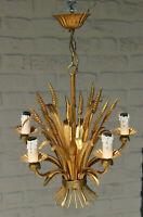 Hollywood regency mid century wheat corn leaf chandelier pendant  5 arms 1970