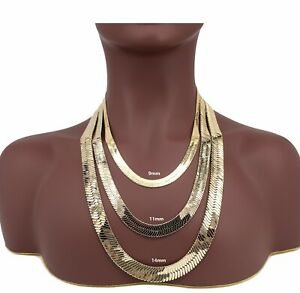 Yellow 14K Flat Herringbone Chain 9mm, 11mm, 14mm Necklace Gold Plated