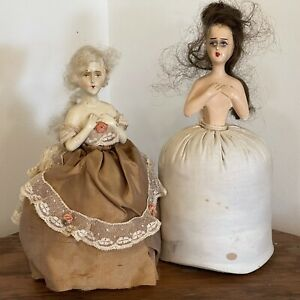 Two Antique German Boudoir Half/Pin Cushion Dolls Mohair Wig