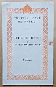 The Heiress programme Theatre Royal Haymarket 1949 Ralph RIchardson Gillian Lind