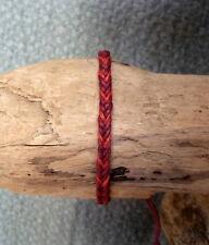 Bracelet brésilien porte bonheur amitié en 100 % coton tressé rouge et bordeaux