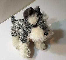 Aurora Plush Dog  Schnauzer Terrier White and Grey Stuffed Animal Soft Child Toy