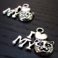 5 Or 10PCs Moon And Back Wholesale Antiqued Silver Plated Charms C0597-2