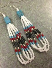 "Native American Style 2.5"" Long White Turquoise Red Black Silver Beaded Earrings"