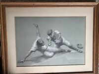 "Mid-Century (1954) Signed & Dated Baseball Art Print ""Safe,"" A.Von Munchhausen"