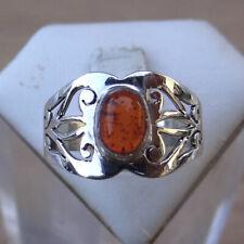 Bague en argent 925 poinçonné pierre en ambre taille 57 ref:bag130