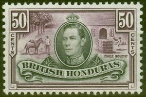 British Honduras 1938 50c Black & Purple SG158 V.F Very Lighlty Mtd Mint
