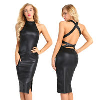 Women' s Faux Leather Club Bodycon Wet look Backless Pencil Stretch Party Dress