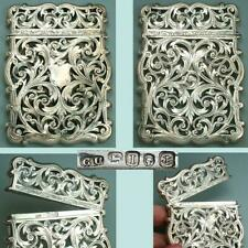 Gorgeous Antique English Sterling Silver Card Case * Hallmarked 1857