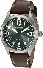Citizen Chandler Eco Drive Green Dial Leather Band Men's Watch - BM6838-09X NEW