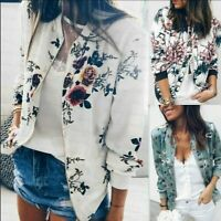 Fashion Womens Floral Zipper Bomber Jacket Baseball Casual Coat Outwear Plus SZ