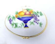 Vintage Limoges France Trinket Box Egg Fruit Basket Castel  1 Owner