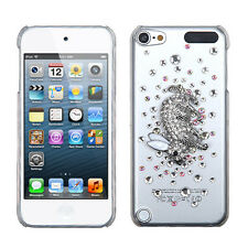 for iPod Touch 5th / 6th Gen - Silver Rabbit Bunny Diamond Bling Hard Case Cover